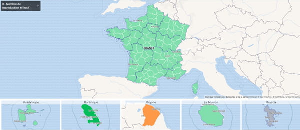 خريطة معدل التكاثر في فرنسا (البر الرئيسي وفي الخارج)