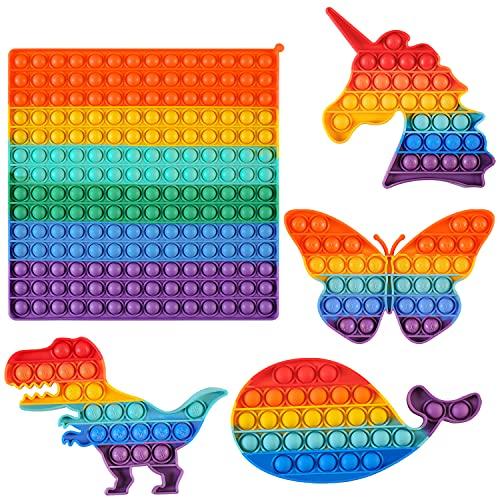 5 قطع Push Pop Bubble Fidget Sensory Toy Large Size Rainbow Pack Pop It سيليكون لعبة لعبة القلق والتوتر والضغط للأطفال البالغين (يونيكورن ، فراشة ، ديناصور ، حوت)